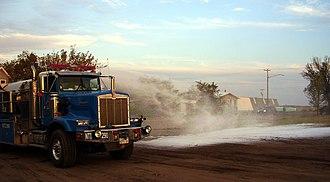 Firefighting foam - A fire truck demonstrating Class A foam in a CAFS system