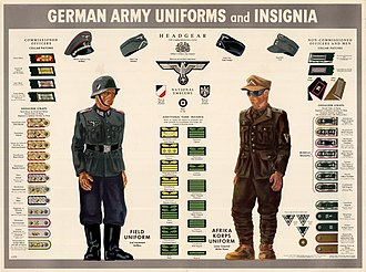 Uniforms of the Heer (1935–1945) - Color poster showing the insignia, patches, hats and uniforms of the German army. The poster features two figures: one is a German soldier wearing the blue field uniform and the other is a German soldier wearing the brown Afrika Korps uniform. Also depicted are the national emblems worn on headgear.