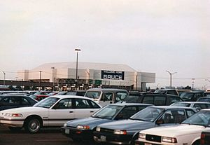 Bruce Springsteen 1992–1993 World Tour - Meadowlands Arena officials placed a large sign on their structure for the opening of the North American leg of the tour.  July–August  1992.