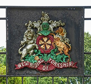 West Riding of Yorkshire - A variation of the West Riding's coat of arms seen in Wetherby, now in West Yorkshire.