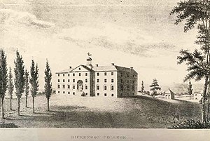Dickinson College - The original Dickinson College building, now known as West College, was designed by Benjamin Latrobe. This illustration is circa 1810.