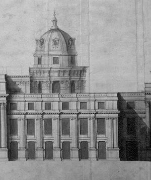 Unfinished building - Sir Christopher Wren's 1698 sketch for a rebuilt Palace of Whitehall.
