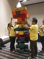 Wikimania 2015-Wednesday-Volunteers play Weasel-Jenga (31).jpg