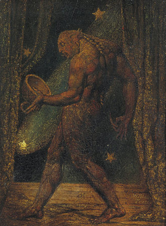 The Ghost of a Flea - The Ghost of a Flea, c. 1819–20. Tate. Tempera mixture panel with gold on mahogany, 21.4 cm × 16.2 cm (painting), 38.2 mm × 32.4 mm × 5.0 mm (frame)
