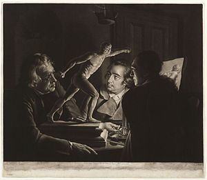 "Three Persons Viewing the Gladiator by Candlelight - ""Three Persons Viewing the Gladiator by Candlelight"": mezzotint print by William Pether, 1769 (Art Institute of Chicago)"