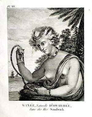 Charles William Barkley - Wynee, a Native of Owyhee, one of the Sandwich Islands, engraving by John Meares depicting the Hawaiian maidservant of the Barkley's.