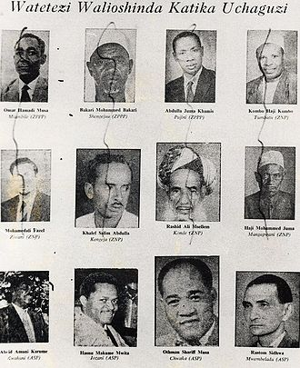 Zanzibar Revolution - Paper shows photos of ex-government officials defaced after the revolution