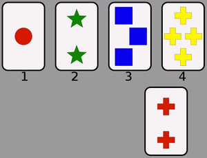 Frontal lobe injury - A screenshot from a computerized version of the Wisconsin Card Sorting Test.