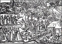 Grabado con diferentes escenas de brujerías: duendes, animales vestidos como hombres, ataques de lobos, hogueras.