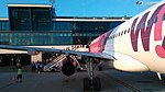 Wizzair with Terminal B seen from stairs to back doors.jpg