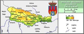Kaart van de Republiek Krakau