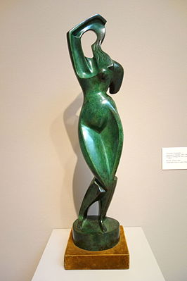 Woman Combing Her Hair by Alexander Archipenko, 1915, bronze, velvet, wood - Chazen Museum of Art - DSC01882.JPG