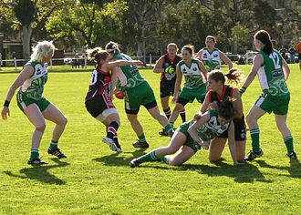 Women's Australian rules football - A match between Ireland and the US in the women's division of the 2011 Australian Football International Cup