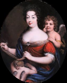 Workshop of Mignard - Allegorical Portrait, Venus Blindfolding Cupid