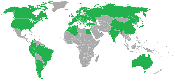 Tram networks around the world: Countries with tram networks Countries without tram networks World Tram Systems.png