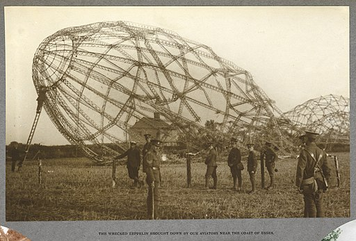 Wrecked Zeppelin brought down by our aviators near the coast of Essex (1916) - India Office Official Record of the Great War (1921) - BL Photo 21-108