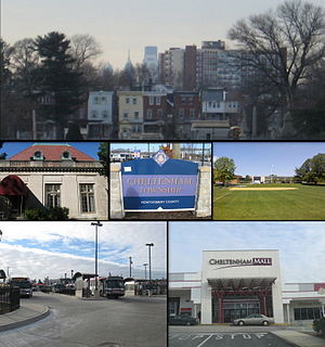 From top L-R, Center City Philadelphia skyline from Cheltenham Avenue, Curtis Hall, Cheltenham Township welcome sign, Cheltenham High School, SEPTA City buses waiting at the Cheltenham & Ogontz Loop, Cheltenham Mall