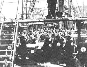 Fujian Fleet - Crewmen aboard the corvette ''Yangwu'', flagship of the Fujian fleet
