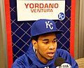 Yordano Ventura talks to reporters on -WSMediaDay. (22265742104).jpg