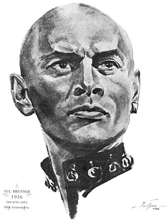 Yul Brynner - Drawing of Brynner by Nicholas Volpe after he won an Oscar for The King and I (1956)