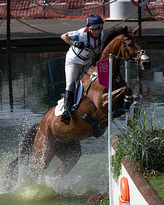 Great Britain at the 2012 Summer Olympics - Silver medal winner Zara Phillips riding High Kingdom during the cross-country discipline of the equestrian eventing