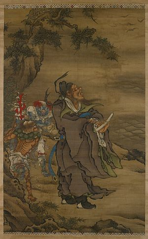 Imperial examination in Chinese mythology - Zhong Kui the Demon Queller with Five Bats