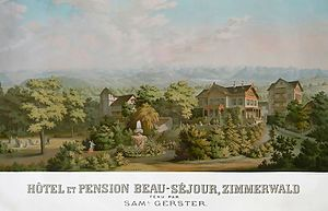 "Zimmerwald Conference - Coloured lithography of the Hotel ""Beau Séjour"" in Zimmerwald, where the delegates stayed. The main building of the hotel was torn down in the 1960s. The guest house and parts of the park survive to this day"