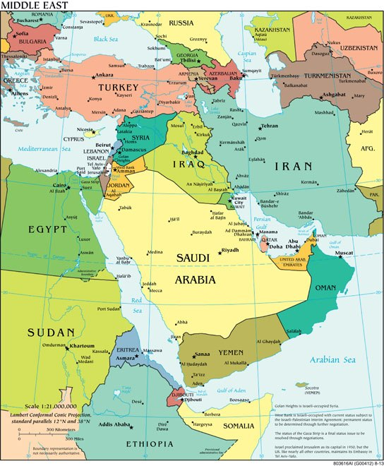 """""""Political Middle East"""" CIA World Factbook"""