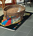 """""""SAVE TIBET"""" rug with map of Tibet filled with the flag of Tibet and Potala image at the Heinrich Harrer Museum 3.jpg"""