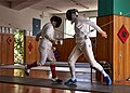 Épée fencing at Athenaikos Fencing Club. The fencer Stamatis Koutsouflakis.jpg
