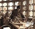 В.Н. Дмитриев с сыном у рельефной карты ЮБК на террасе дома в Ялте. Конец ХIХ века.jpg