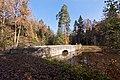 Золотая осень в Сергиевке. Мост-плотина на протоку со стороны Южного пруда ..jpg