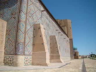 Banna'i - Banna'i brickwork in the Mausoleum of Khoja Ahmed Yasavi. The blue brickwork spells out the names of Allah, Muhammad and Ali in square Kufic calligraphy.