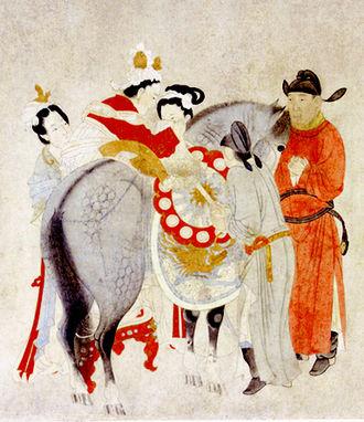Yang Guifei - A painting depicting Consort Yang mounting a horse, by Qian Xuan