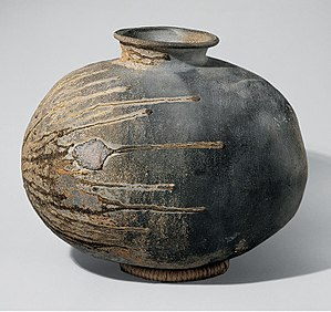 Sue pottery - Sue stoneware recumbent bottle (yokobe) with partial covering of natural ash glaze, late Kofun period, 6th century