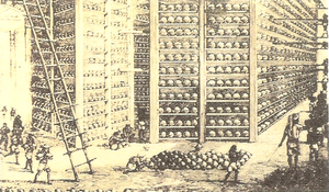 History of opium in China - Storage of opium at a British East India Company warehouse