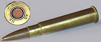 Vickers machine gun - Rimmed, centrefire Mk 7 .303 inch cartridge from World War II. The type of ammunition is denoted by the colour of the annulus, the narrow ring shown here surrounding the percussion cap