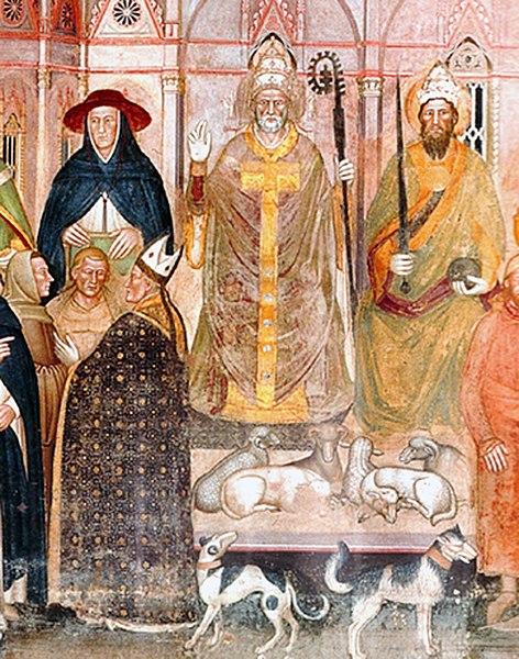 Fichier:01 Innocent VI, Gil Albernoz & Charles IV (au premier plan, Simone Saltarelli, archevêque de Pise, Césène et Occam).jpg