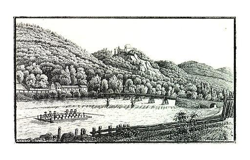 080 Ruine Gösting mit der Weinzierlbrücke - bei Graz - drawing. Wonsidler, Lith. v. Folwarczni - J.F.Kaiser Lithografirte Ansichten der Steiermark 1830