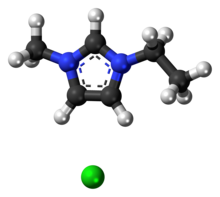 Ball-and-stick model of the component ions of 1-ethyl-3-methylimidazolium chloride