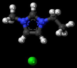 1-Ethyl-3-methylimidazolium chloride - Image: 1 Ethyl 3 methylimidazolium chloride 3D balls
