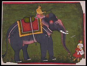 Bundi State - Maharao Bhao Singh riding an elephant. Ca. 1675