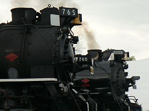 Pere Marquette 1225 - Nickel Plate Road 765 and Pere Marquette 1225 during Trainfestival 2009.