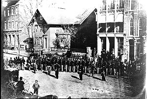 A portion of the 127th Ohio Volunteer Infantry, later re-designated the 5th USCT, in Delaware, Ohio