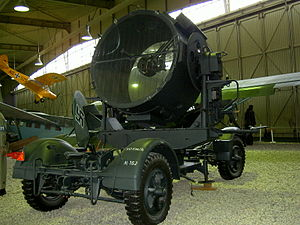 Cathedral of light - A German 150cm searchlight displayed at the Militärhistorisches Museum Flugplatz Berlin-Gatow, 2003