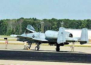 "122d Fighter Wing - An Indiana Air National Guard Airmen with the 122d Fighter Wing at Fort Wayne Air National Guard Station prepares a Fairchild Republic A-10 Thunderbolt II, ""Warthog"" for flight"