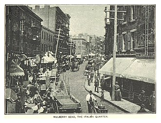 Mulberry Bend - Mulberry Street looking north to Bayard Street with Mulberry Bend on left, Ca 1890