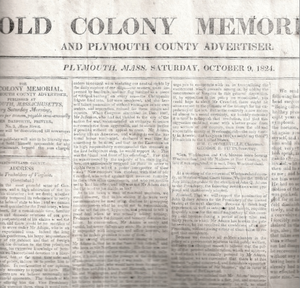 Old Colony Memorial (newspaper) - Old Colony Memorial, 1824
