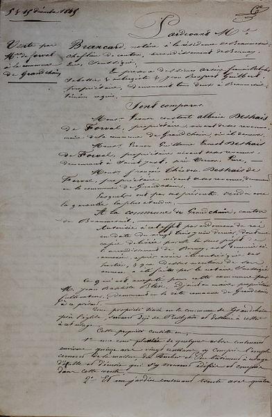 File:1845 décembre Presbytère Acte de vente - 1ere page.JPG