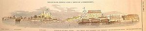 HMS Howe (1805) - 1848 woodcut showing prison hulks moored off Ireland Island, Bermuda.